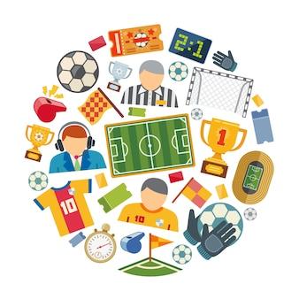 サッカーまたはヨーロッパのフットボールベクトルフラットアイコンセット