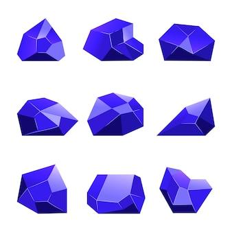 モバイルゲームアプリのための青ベクトルクリスタル白背景