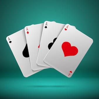 Казино, азартные игры в покер блэкджек векторный концепт с игральных карт с четырьмя тузами. комбинация играю