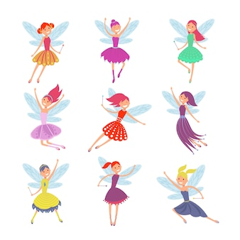 Набор летающих сказочных девушек с угловыми крыльями