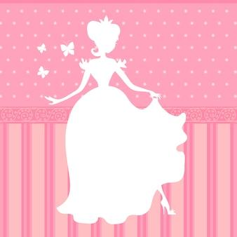Ретро вектор розовый фон с маленькой красивой принцессой силуэт