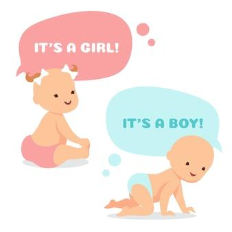 思考の泡と漫画の赤ちゃん。