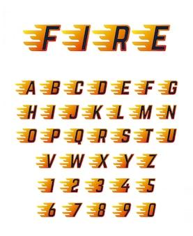 ランニングレターを炎で燃やす。レーシングカーのための熱い火ベクトルフォントアルファベット