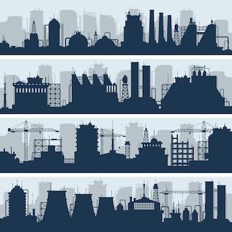 Промышленные векторные горизонты. современная фабрика и работы по строительству силуэтов
