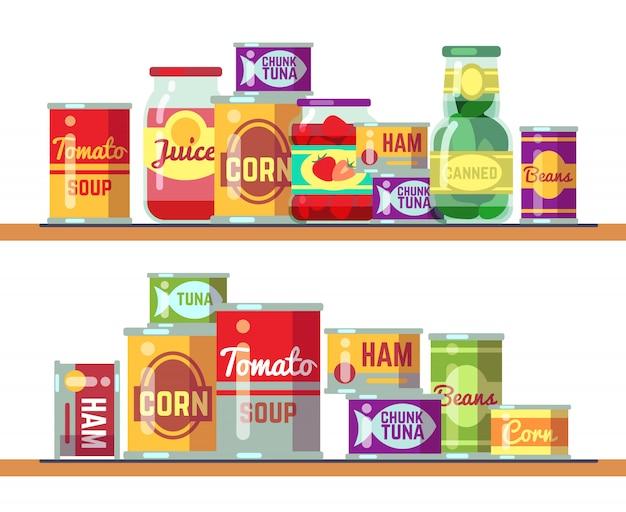 赤いトマトのスープと缶詰食品のベクトル図