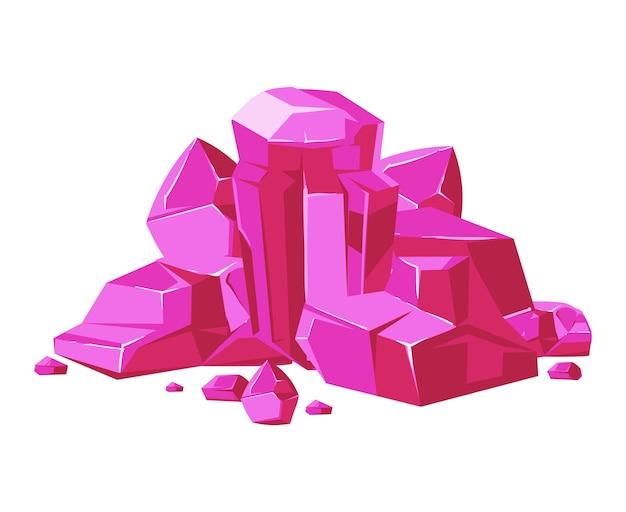 ピンクのベクトル結晶モバイルゲームのアプリのための白い背景