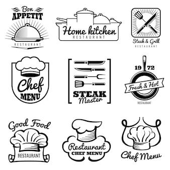 Ресторан векторный логотип. шеф-повар ретро этикетки. готовим на кухне эмблемы