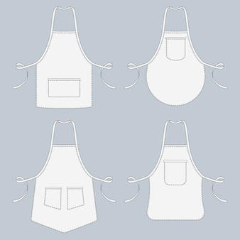 Готовим униформу. ресторан фартук векторная коллекция шаблонов. иллюстрация униформы защитной для кухни и приготовления пищи