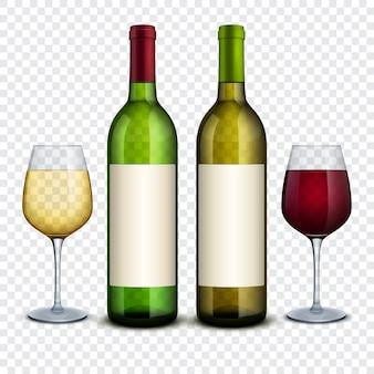 Красное и белое вино в бутылках и рюмках вектор макет. бутылка красного вина и алкогольный продукт, напиток и бокал