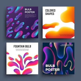 Абстрактные фоны с жидкими цветными фигурами. волшебная жидкость окраска молекул векторных плакатов