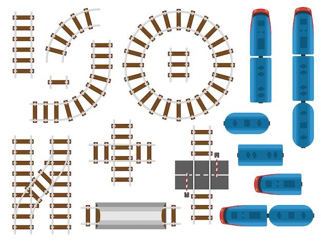 トップビューの線路と鉄道輸送 - 電車、馬車、車