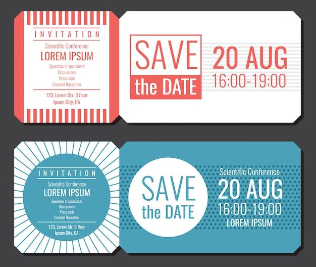 日付のミニマリストの招待状チケットベクターデザインを保存します。挨拶と招待状カードの図