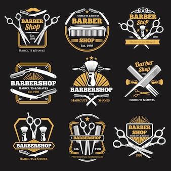 Старые парикмахерские векторные эмблемы и ярлыки. винтажные мужские прически