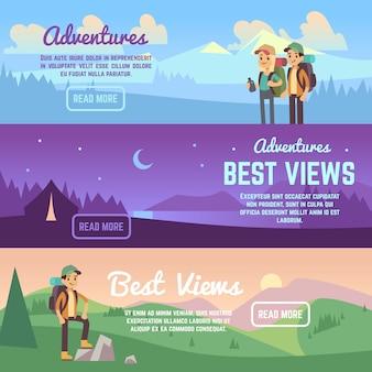登山、トレッキング、ハイキングのベクトル水平方向のバナーを設定します。アクティブな旅行バナー、冒険と放浪者のパンフレット、イラスト