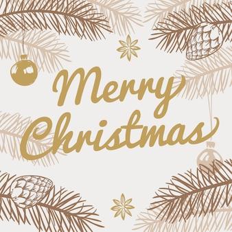 Веселая рождественская открытка. зимний праздник векторный фон с рисованной елкой. рождественская елка, открытка с надписью праздник