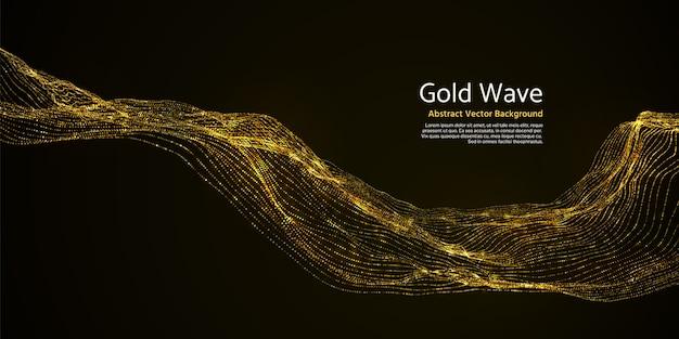 暗い背景に金の縞模様の抽象的な波。暗闇の中で黄金の点滅波線ベクトルイラスト。活気に満ちた波状ゴールド効果のきらめき