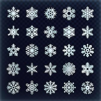お祝いベクトル雪片を設定します。クリスマスの休日の装飾要素。スノーフレーク冬セット、雪のクリスマスイラスト