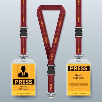 Бизнес пресс проход удостоверения талреп значки реалистичные. держатель и шнур, удостоверение личности для безопасности на иллюстрации конференции