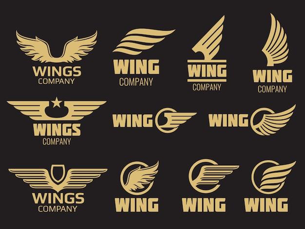翼のロゴのコレクション - ゴールデン自動翼のロゴのテンプレート