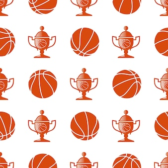 Спорт бесшовные модели с баскетболом и трофеем