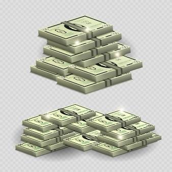 輝く要素 - 透明な背景に現実的なお金でたくさんのお金