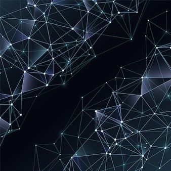 カオスポリゴンとビジネス抽象的なベクトル黒と白の背景。抽象的な空間的な暗い背景、ネットワーク多角形図