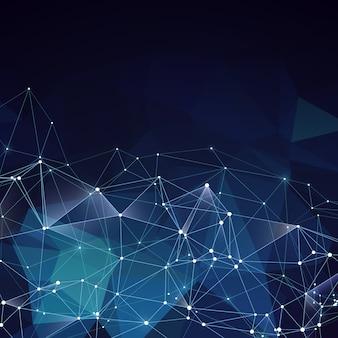 モダンな抽象的なベクトル青い幾何学的背景。ポリゴンとラインでネットワークの創造的なアイデアのコンセプト