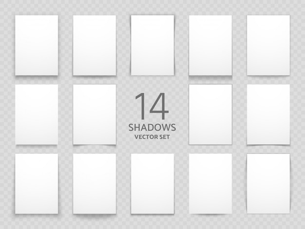 分離された別の透明な影を持つ空白の紙カード多目的デザインの大きなベクトル影セット