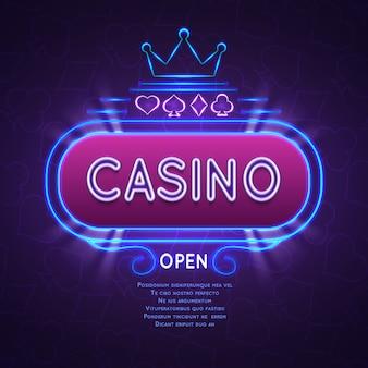 Абстрактное яркое знамя казино вегас с неоновой рамкой. векторный фон азартные игры.