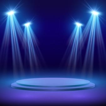 Сцена с прожектором для шоу с подсветкой иллюстрации