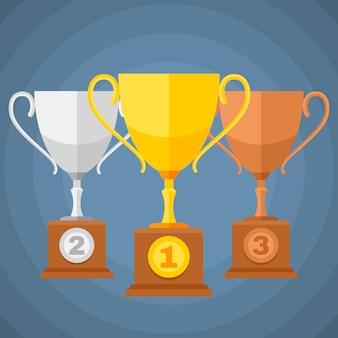 金、銀、銅メダルの優勝者はトロフィーカップをプレーします。分類アイコンをベクトルします。賞の図のためのトロフィーカップのセット