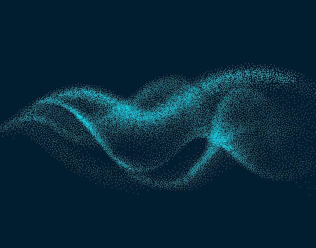 Цифровая волна потока с движущимися частицами. абстрактный дым эффект фона