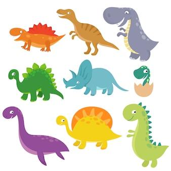 かわいい赤ちゃん恐竜ベクトル文字分離ベクトルを設定