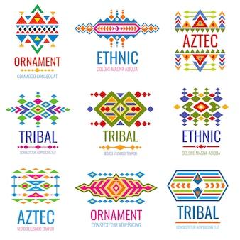 ビンテージアメリカインディアンベクトルのロゴを設定します。部族のメキシコスタイルのビジネスブランドアイデンティティ