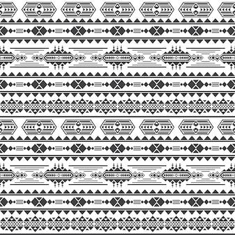 アステカ文化のシームレスなパターンベクトル。メキシコマヤの無限の背景