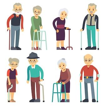老人漫画ベクトル文字セット。年配の男性と女性のカップルのコレクション。高齢者の祖母と祖父の年金受給者の図