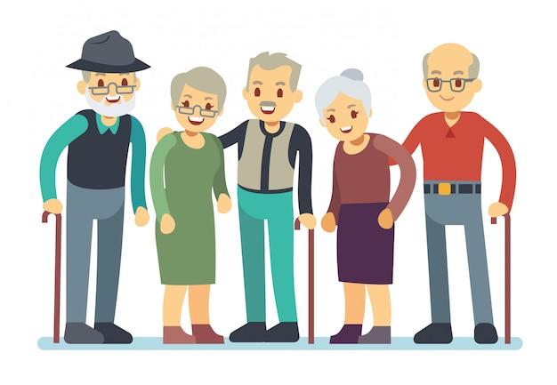 Группа старых людей героев мультфильмов. счастливые пожилые друзья векторная иллюстрация
