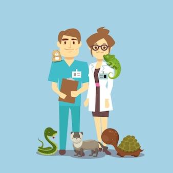 平らな獣医とエキゾチックなペット、白で隔離