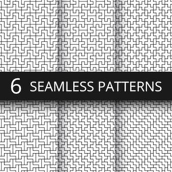 単純な幾何学的ベクトル抽象的なシームレスパターン。モノクロの幾何学的な壁紙の繰り返しプリント