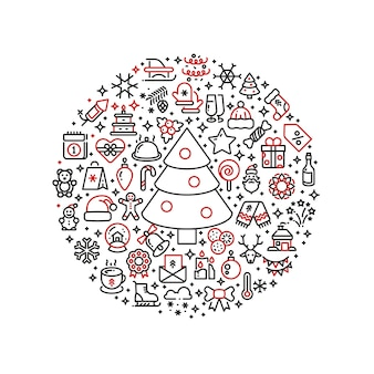 クリスマスのグラフィックボールに配置されたクリスマスラインアートのアイコン