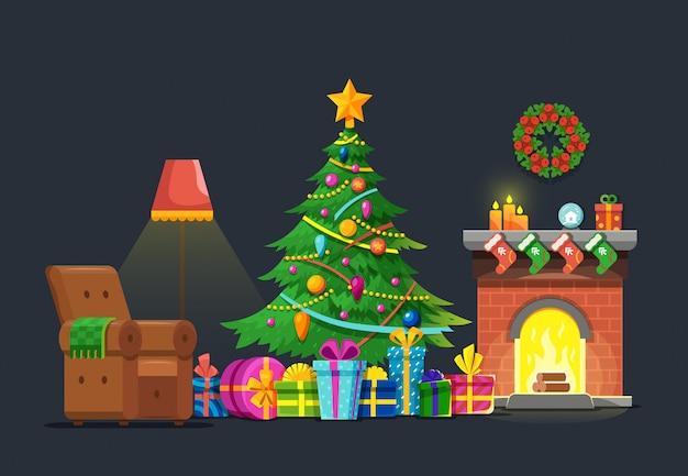 クリスマスツリーと暖炉のある漫画リビングルーム。クリスマスホリデーベクトルフラットコンセプト