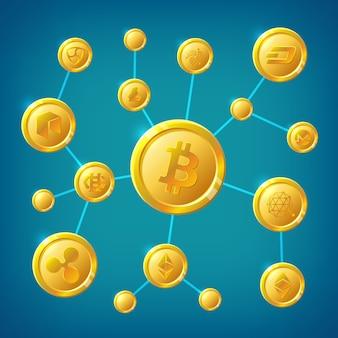Блок-схема, криптовалюта и биткойн-децентрализация анонимных интернет-транзакций векторной концепции
