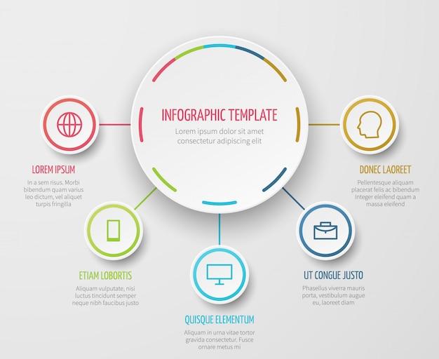 ビジネスレポートと分析的なプレゼンテーションのためのステップ進行ベクトルテンプレートと丸いグラフインフォグラフィック