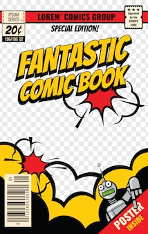Векторный шаблон обложки комиксов. плакат с комиксами, редактируемая иллюстрация страницы журнала