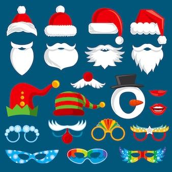 クリスマス休暇の写真ブースの小道具ベクトルコレクション。クリスマスサンタパーティー写真プロップセット