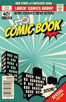 Ретро обложка журнала. винтажные комиксов вектор шаблон. обложка книги для иллюстрации комического мультфильма
