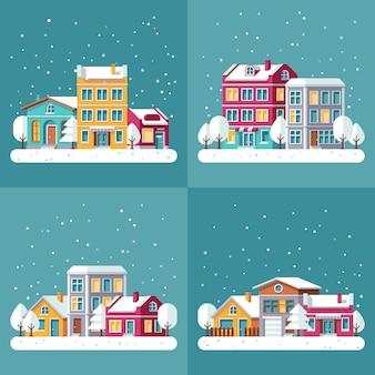 クリスマス冬休日のベクトルの背景は街の通りに設定します。冬の町の風景、雪のイラストの家の村の建物