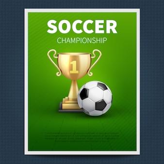 サッカーまたはヨーロッパのフットボールのベクトルスポーツポスターテンプレート。サッカー選手権大会、チームスポーツ大会のつづり