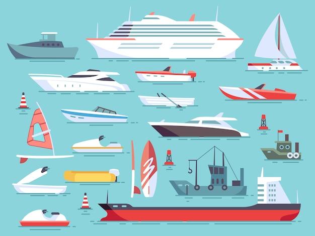 海のボートと小さな漁船の大規模なセット。ヨットフラットベクトルアイコン