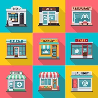 フラットショップ建物ファサードアイコンのセットです。地元の市場店の家の設計のためのベクトル図ショップファサードビル、ストリートフロント商業市場